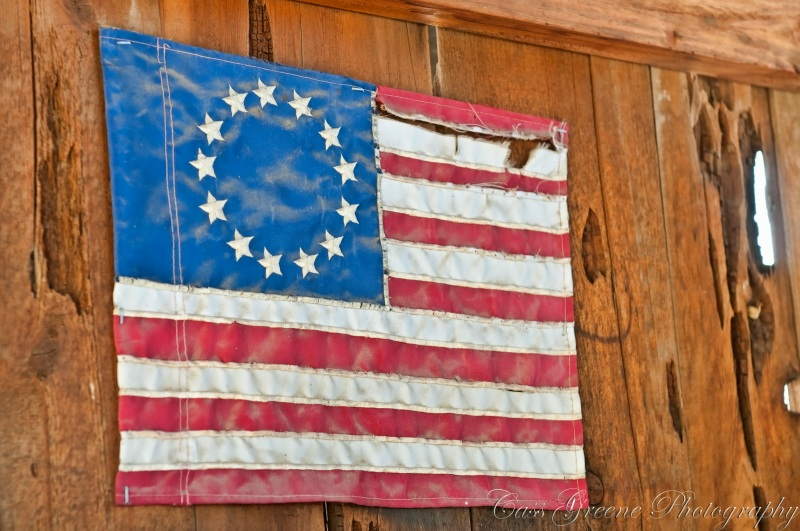 Worn and torn old American Flag